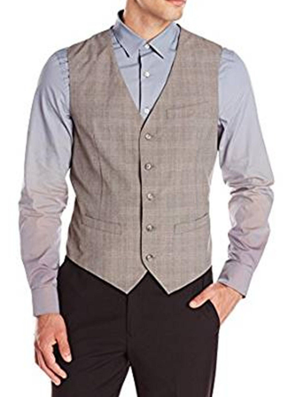 Perry Ellis Men's Herringbone Stripe Alloy Gray Suit Vest Size Large