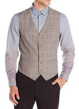 Perry Ellis Men's Herringbone Stripe Alloy Gray Suit Vest Size Large - €36,82 EUR