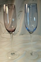 2 Mikasa wine, champagne glasses flutes 1 pink, 1 blue, pattern unknown,... - $45.53