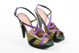 Miu Miu Multicolor Suede Criss Cross Strappy Platform High Sandal Heels ... - $235.00