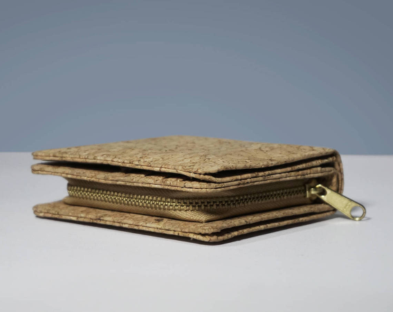 EcoQuote Eco Friendly Compact Bi Fold Wallet Handmade Cork Material for Vegan