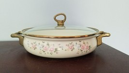 """Pfaltzgraff Tea Rose Enamelware Brass Covered Casserole Dish with lid 10 1/4"""" - $29.99"""