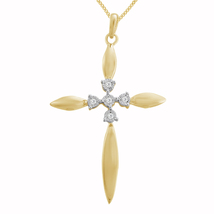 "0.11 Ct Diamond Religious Cross Pendant & 18"" Chain 14K Yellow Gold Finish - $80.45"