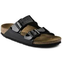 Birkenstock Women Arizona Birko Flor Black Patent Fashion Narrow Sandals 1005292 - $124.99