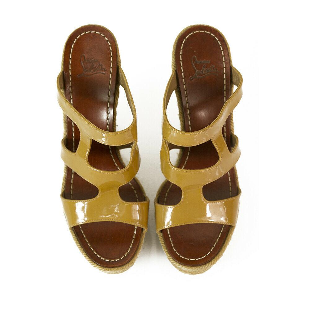 CHRISTIAN LOUBOUTIN Salamanca Espadrille beige Patent Leather Wedges Shoes sz 37 image 2