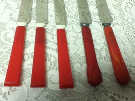 Vintage, 5-pc Lot, Red Bakelite Knives - $21.80