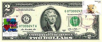 MONEY US $2 DOLLARS 2013 STAMP CHICAGO CANCEL LOVE PETS GERBILS GEM UNC