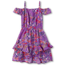 NWT The Childrens Place Girls Purple Floral Off Shoulder Ruffle Dress - $12.86