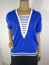 """Vintage Jaeger Cotton Sweater Size 38"""" Or 6 V Neck Blue White Short Sleeve  - $32.30"""