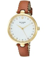 KATE SPADE HOLLAND KSW1359 SCALLOP BROWN LEATHER STRAP WHITE DIAL WOMEN'... - £105.98 GBP