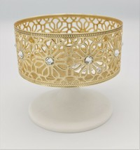 Bath & Body Works Marble Pedestal Candle Holder Gold Flowers Metal - $24.69