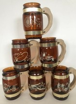 Benner Glass SIESTA WARE WESTERN THEME Brown Amber Glass MUGS with Wood ... - $29.94