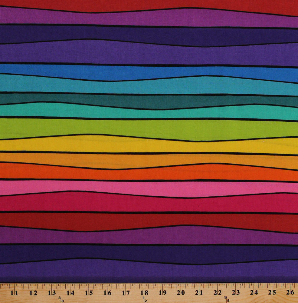 Colorful Rainbow Stripes Sweet Tweets Cotton Fabric Print by the Yard D402.18