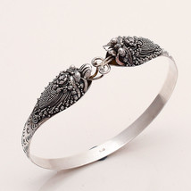 925 Sterling Silver Electric Fish Carved Bangle Bracelet Animal Fine Jew... - $60.08