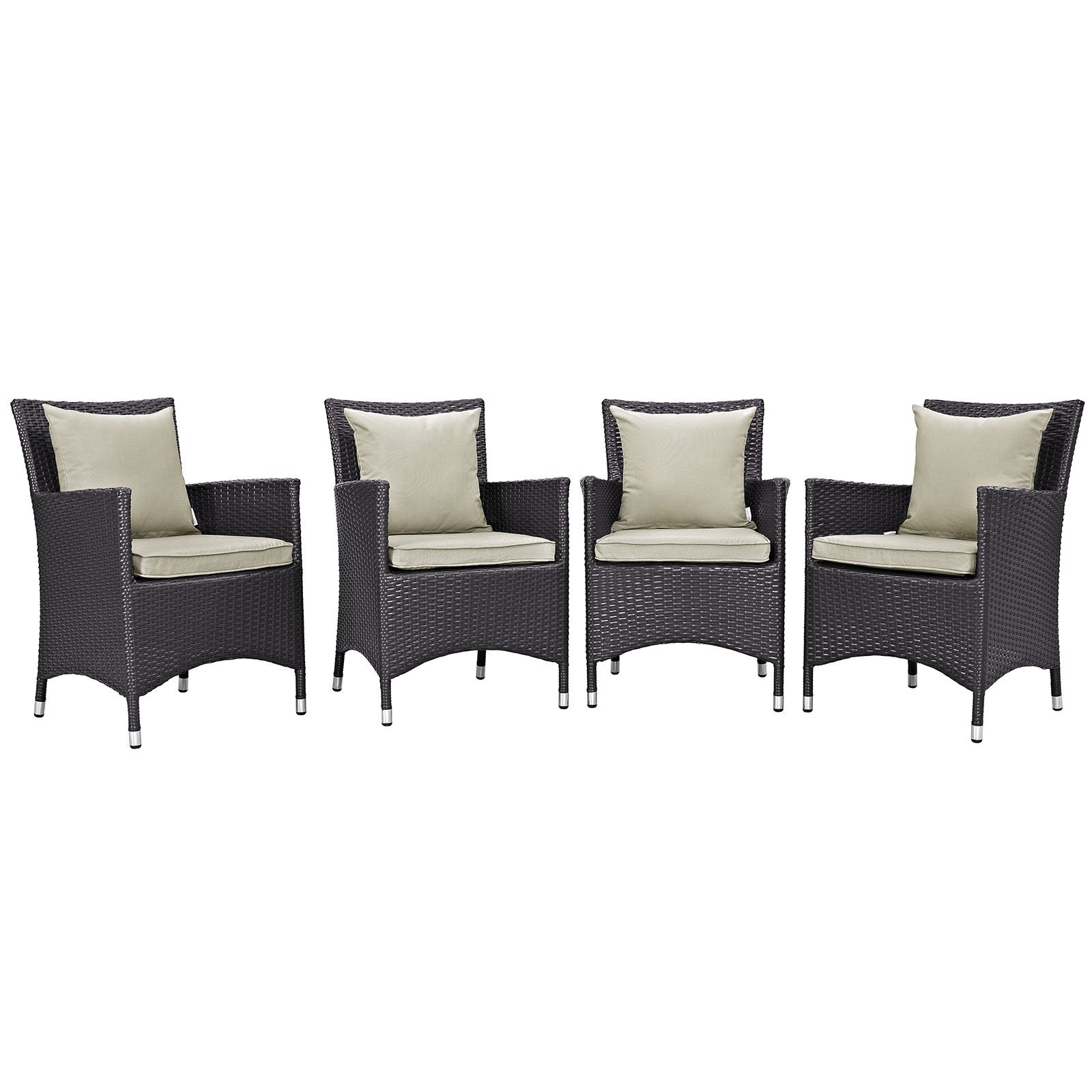 Convene 4 Piece Outdoor Patio Dining Set Espresso Beige EEI-2190-EXP-BEI-SET