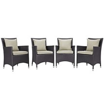 Convene 4 Piece Outdoor Patio Dining Set Espresso Beige EEI-2190-EXP-BEI... - $686.75