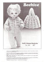 Beehive Doll's Knitted Wardrobe Leaflet No. 341 Clothing Vintage Circa 1970 - $4.99