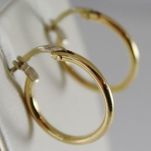 18K YELLOW GOLD EARRINGS LITTLE CIRCLE HOOP 16 MM 0.63 IN DIAMETER MADE IN ITALY image 2