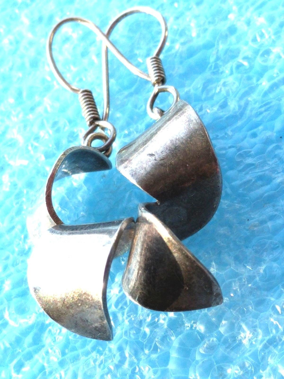 Primary image for VINTAGE MODERNIST SOLID STERLING SILVER  EARRINGS