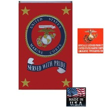 "OFFICIAL USMC US Marine Corps MARINES""SERVED WITH PRIDE""3x5 FLAG Banner ... - $17.44"