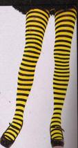 BLACK & YELLOW STRIPED TIGHTS ADULT ONE SZ - $7.00