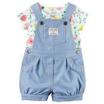 Carter's Tee & Denim-Like Shortalls Set Amazing Baby Girls Sz 9m or 18M NWT - $20.55
