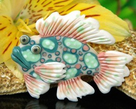 Vintage Tropical Fish Pin Brooch 1993 Handcrafted Clay Artist Signed - $17.95