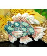Vintage Tropical Fish Pin Brooch 1993 Handcrafted Clay Artist Signed - £14.41 GBP