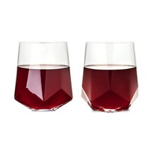 Stemless Wine Glass, Raye Faceted Crystal Clear Insulated Wine Glasses, Set Of 2 - $31.49