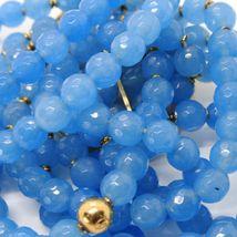 925 STERLING SILVER BRACELET BEAUTIFUL BIG LADY FLOWER CAMEO & BLUE JADE, ITALY image 7