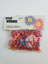 Vintage 1970's Pop Beads for Jewelry Sealed bag 144 pcs Red Blue Pink Yellow - $18.69