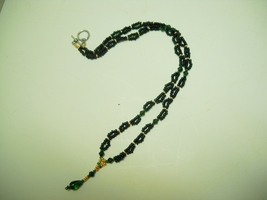 Hand crafted bead necklace,  black with brass and dark green accent - $9.99