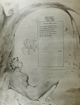 1922 FULL SIZE WILLIAM BLAKE LARGE PRINT THOMAS GRAY'S POEM ODE ON THE S... - $61.88