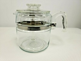 Vintage Pyrex 7756 6 Cup Glass Flameware Stovetop Coffee Pot Percolator Lid - $51.95