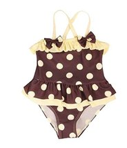 Beautiful Baby Girl Swimsuit Lovely Bow Spot Toddler Swimsuit Yellow&Gray (2~3Y)