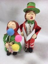 2 VINTAGE Christmas Ornament Figures Caroler Balloons Man Woman 21669 - $19.54
