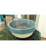 "Vintage Large 2-Tone Blue Bowl Pot 10"" x 4.75"" Stone Pottery Crock Art D... - $97.45"