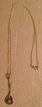 Antique 1920s 10K Gold Diamond Lavaliere Love Pendant Italian Chain Neck... - $340.90