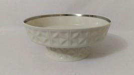 """Lenox Diamond Design Round COMPOTE Pedestal Serving Bowl Cream Platinum Ring 10"""" - $26.73"""