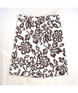 ZARA BASIC Brown & White Floral Print Stretchy Box Pleated A Line Skirt ... - $7.91
