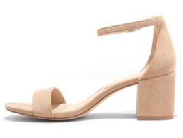 A New Day Women's Taupe Michaela Mid Block Heel Open Toe Sandal Pumps image 2
