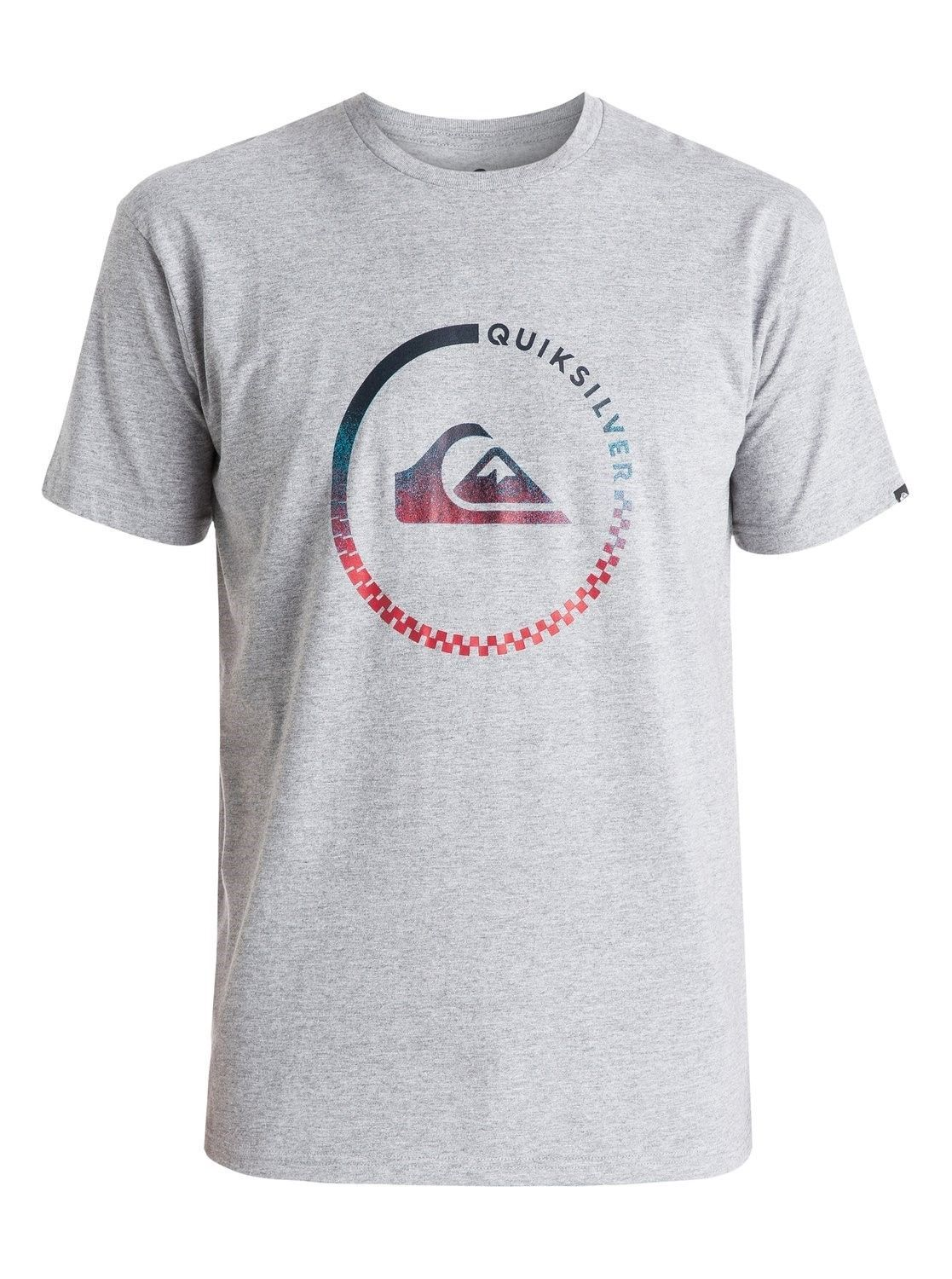 Quiksilver Men's Tee Shirt Surfing Beach Casual Grey Active Check T-Shirt