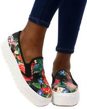 Wild Diva Rayka-01 Lug Sole Slip On Platform Sneaker, Black/Multi Floral... - £20.98 GBP