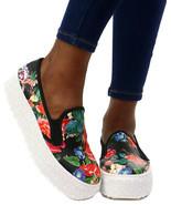 Wild Diva Rayka-01 Lug Sole Slip On Platform Sneaker, Black/Multi Floral... - £21.08 GBP