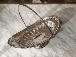 Vintage Silver Plated Centrepiece Fruit Bowl Basket With Swing Handle Footed - $49.69