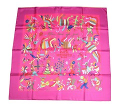 Hermes Scarf Din Tini Ya Zue Silk 90 cm Pink with Box Carre 2011 SS Shaw... - $454.41