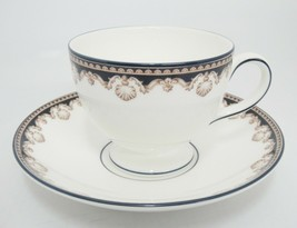Wedgwood Medici R4588 Footed Cup and Saucer Tan Shells Black Band Mint - $19.79