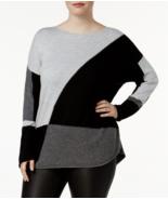 INC womens Color blocked Long Sleeve gray black light Sweater Plus Size 0X - $23.65