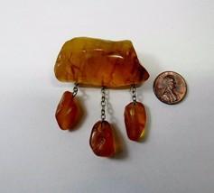 Large Natural Genuine Honey Amber Freeform Nugget Dangling Pin Brooch 14... - $64.35