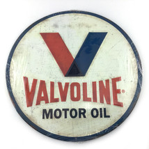 Valvoline Embossed Weathered Metal Sign With Raised Letters 12 Inches Di... - $37.60